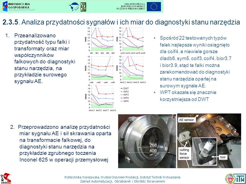 2.3.5. Analiza przydatności sygnałów i ich miar do diagnostyki stanu narzędzia