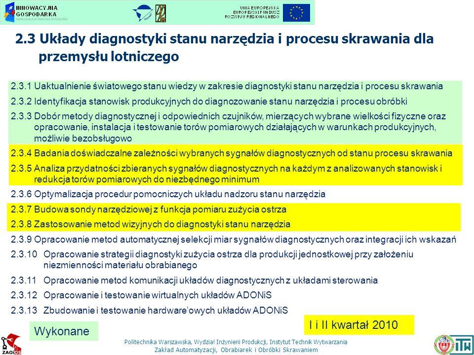 2.3 Układy diagnostyki stanu narzędzia i procesu skrawania dla przemysłu lotniczego