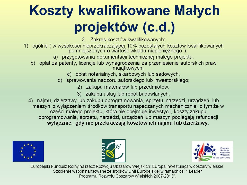 Koszty kwalifikowane Małych projektów (c.d.)