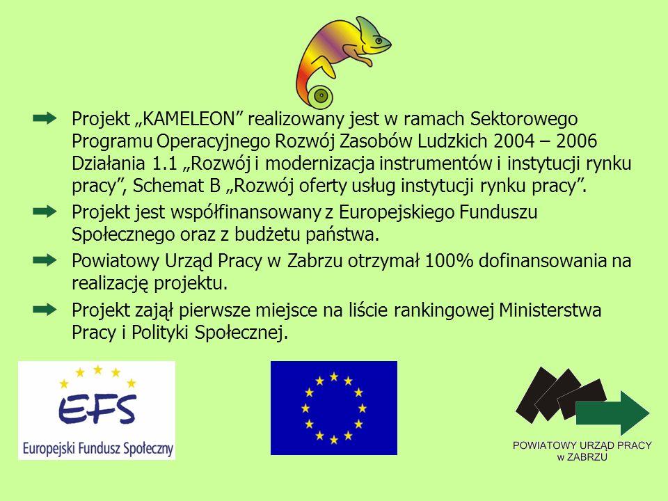 """Projekt """"KAMELEON realizowany jest w ramach Sektorowego Programu Operacyjnego Rozwój Zasobów Ludzkich 2004 – 2006 Działania 1.1 """"Rozwój i modernizacja instrumentów i instytucji rynku pracy , Schemat B """"Rozwój oferty usług instytucji rynku pracy ."""