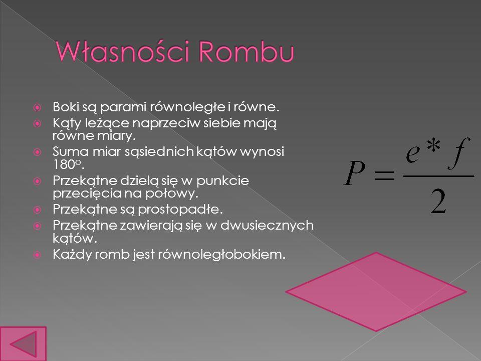 Własności Rombu Boki są parami równoległe i równe.