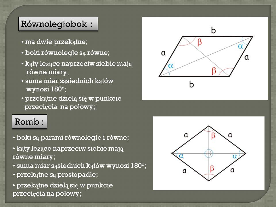 Równoległobok : Romb : ma dwie przekątne; boki równoległe są równe;