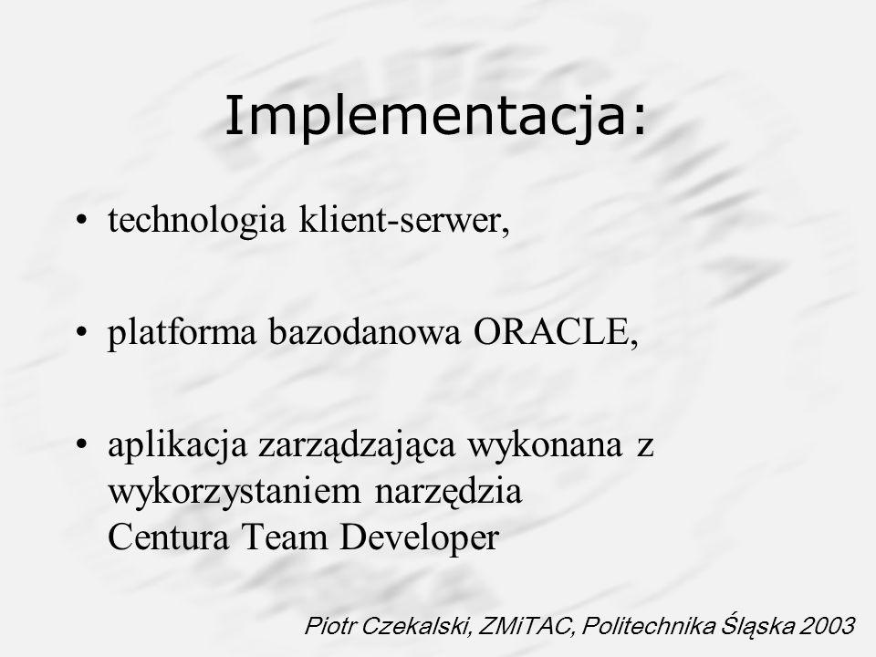 Implementacja: technologia klient-serwer, platforma bazodanowa ORACLE,