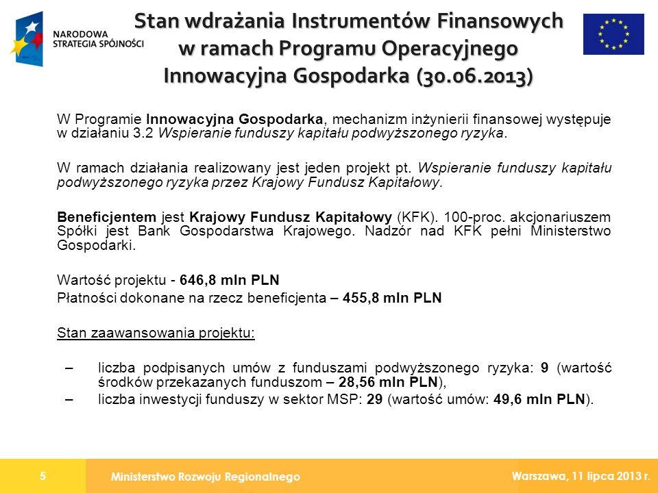 Stan wdrażania Instrumentów Finansowych w ramach Programu Operacyjnego Innowacyjna Gospodarka (30.06.2013)