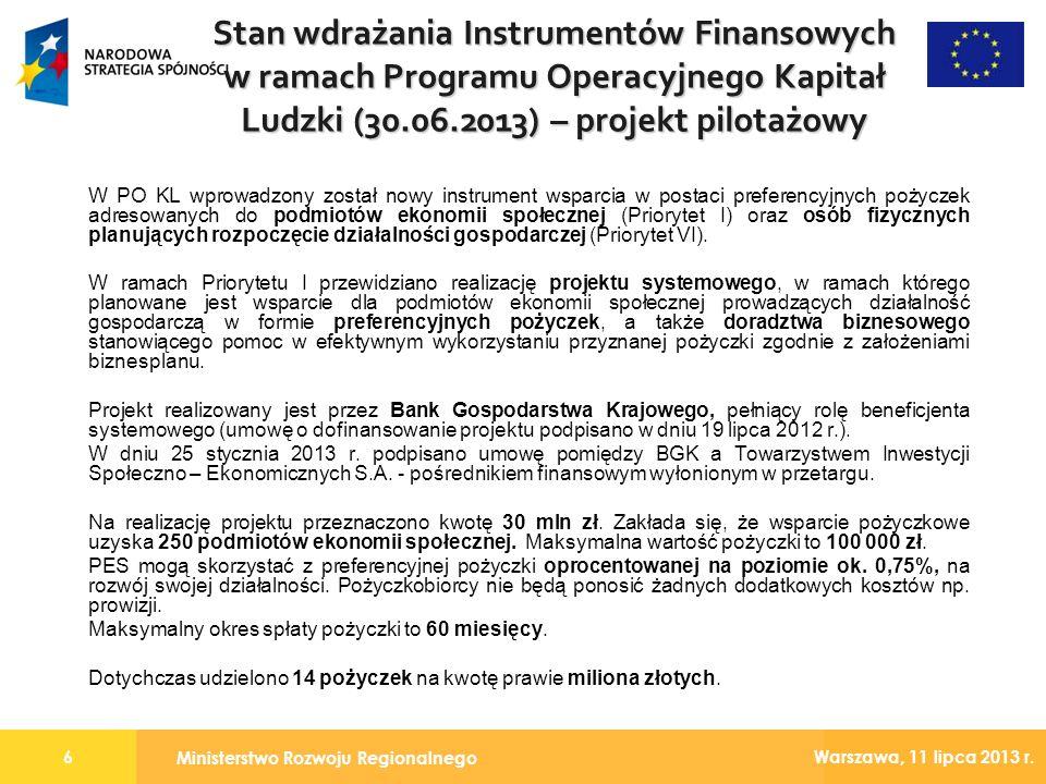 Stan wdrażania Instrumentów Finansowych w ramach Programu Operacyjnego Kapitał Ludzki (30.06.2013) – projekt pilotażowy