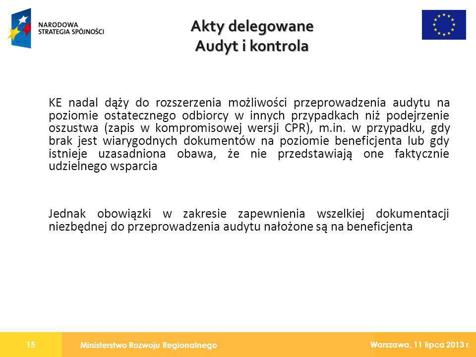 Akty delegowane Audyt i kontrola
