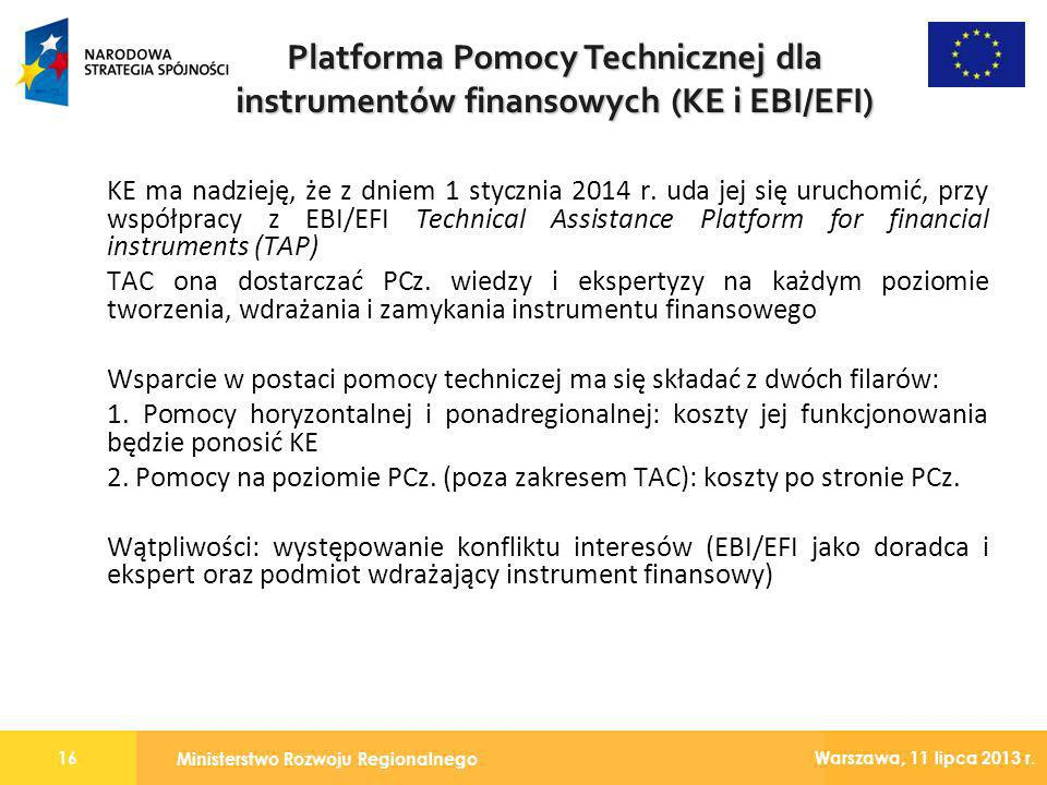 Platforma Pomocy Technicznej dla instrumentów finansowych (KE i EBI/EFI)