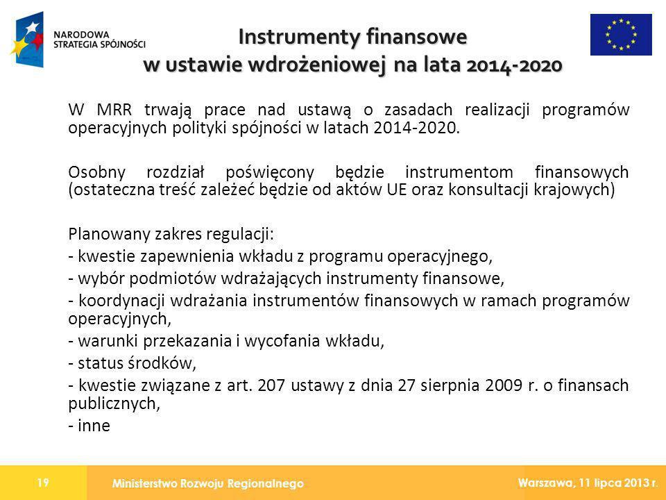 Instrumenty finansowe w ustawie wdrożeniowej na lata 2014-2020