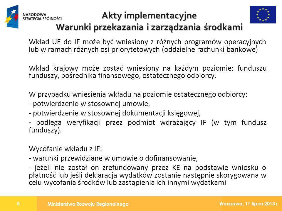 Warunki przekazania i zarządzania środkami