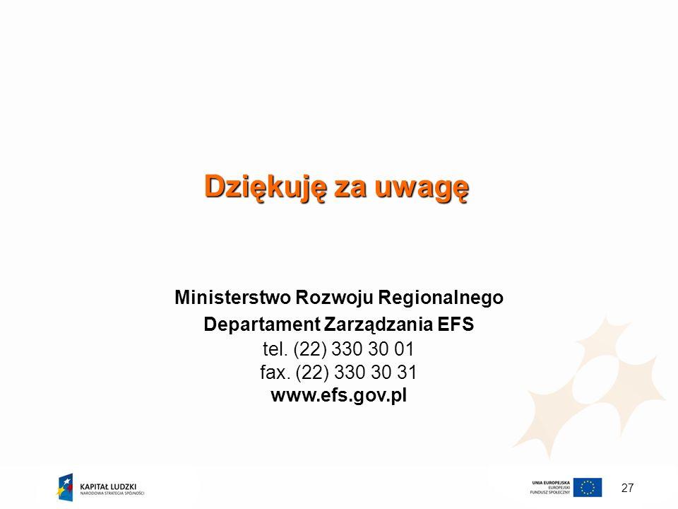 Ministerstwo Rozwoju Regionalnego Departament Zarządzania EFS