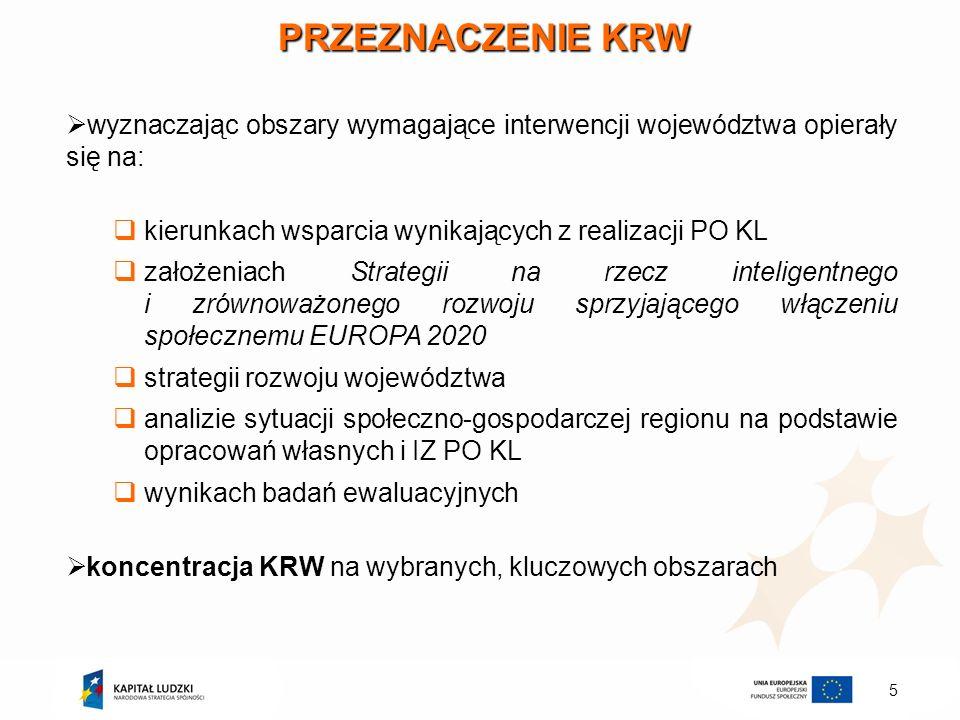 PRZEZNACZENIE KRW wyznaczając obszary wymagające interwencji województwa opierały się na: kierunkach wsparcia wynikających z realizacji PO KL.