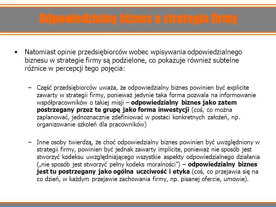 Odpowiedzialny biznes a strategia firmy