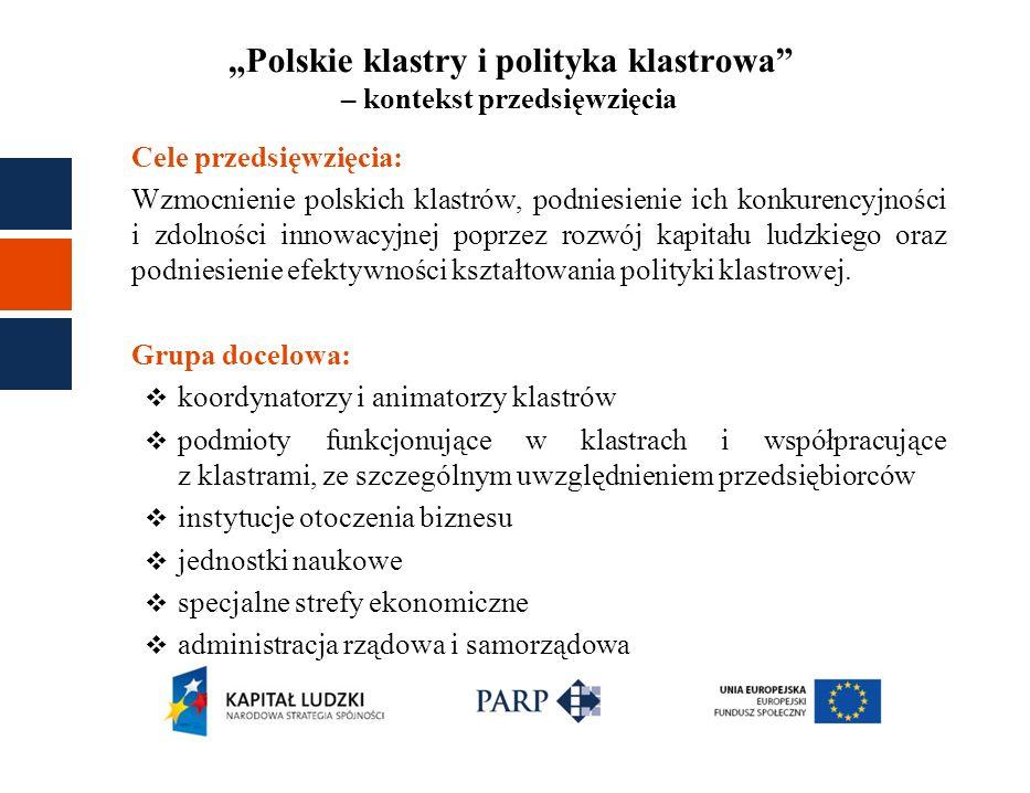 """""""Polskie klastry i polityka klastrowa – kontekst przedsięwzięcia"""