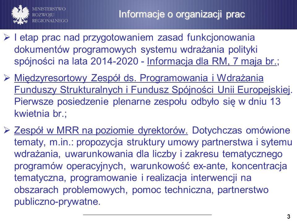 Informacje o organizacji prac