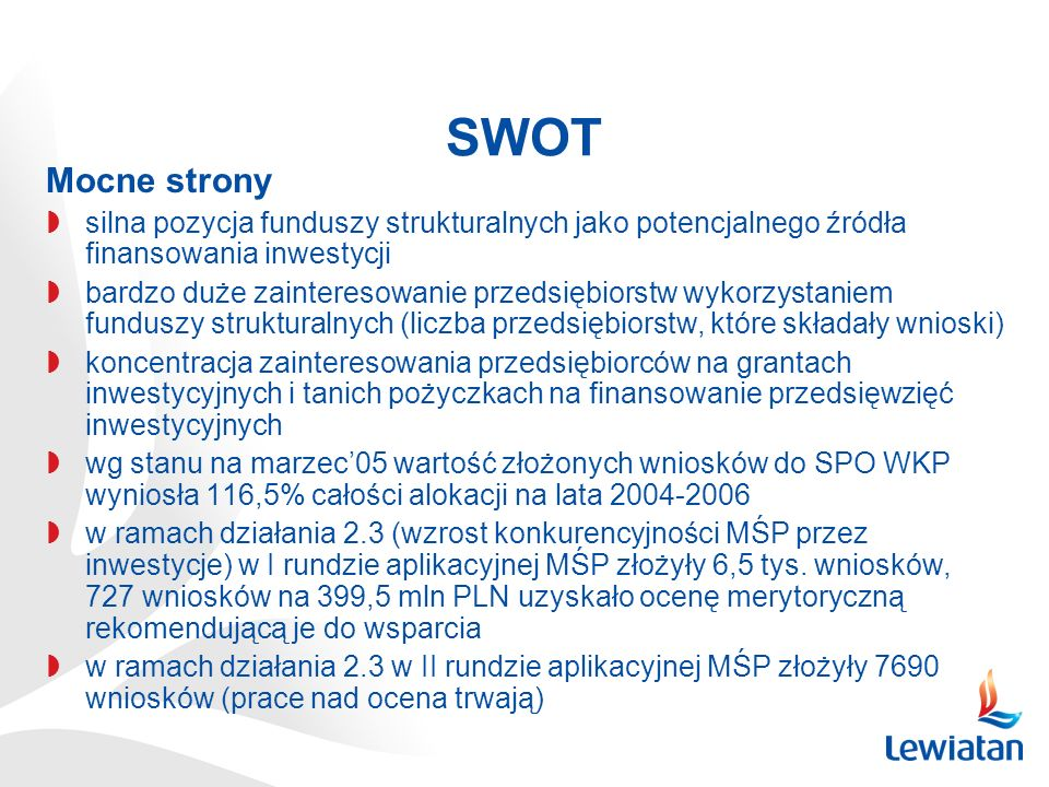 SWOTMocne strony. silna pozycja funduszy strukturalnych jako potencjalnego źródła finansowania inwestycji.