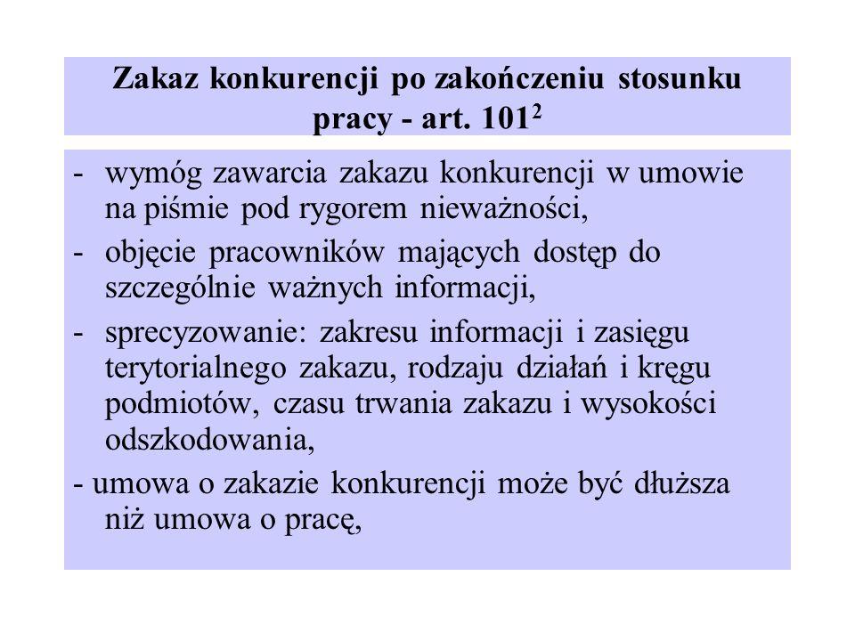 Zakaz konkurencji po zakończeniu stosunku pracy - art. 1012
