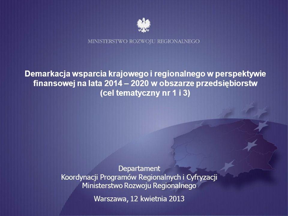 Demarkacja wsparcia krajowego i regionalnego w perspektywie finansowej na lata 2014 – 2020 w obszarze przedsiębiorstw