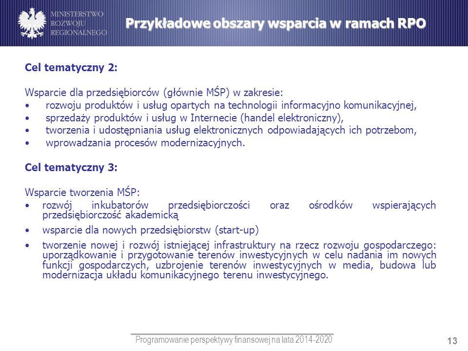 Przykładowe obszary wsparcia w ramach RPO