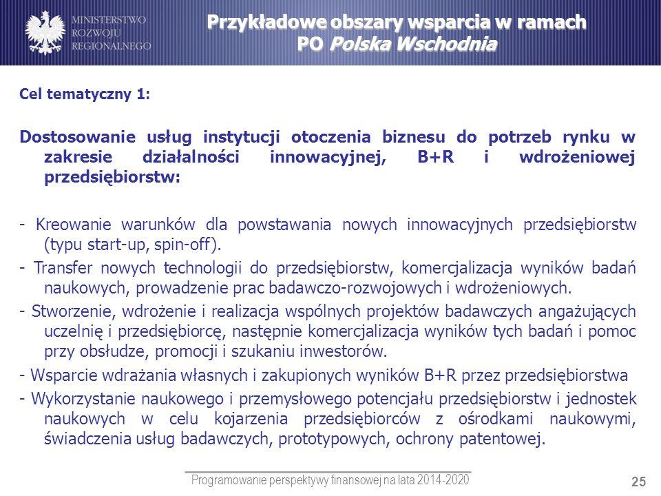 Przykładowe obszary wsparcia w ramach PO Polska Wschodnia