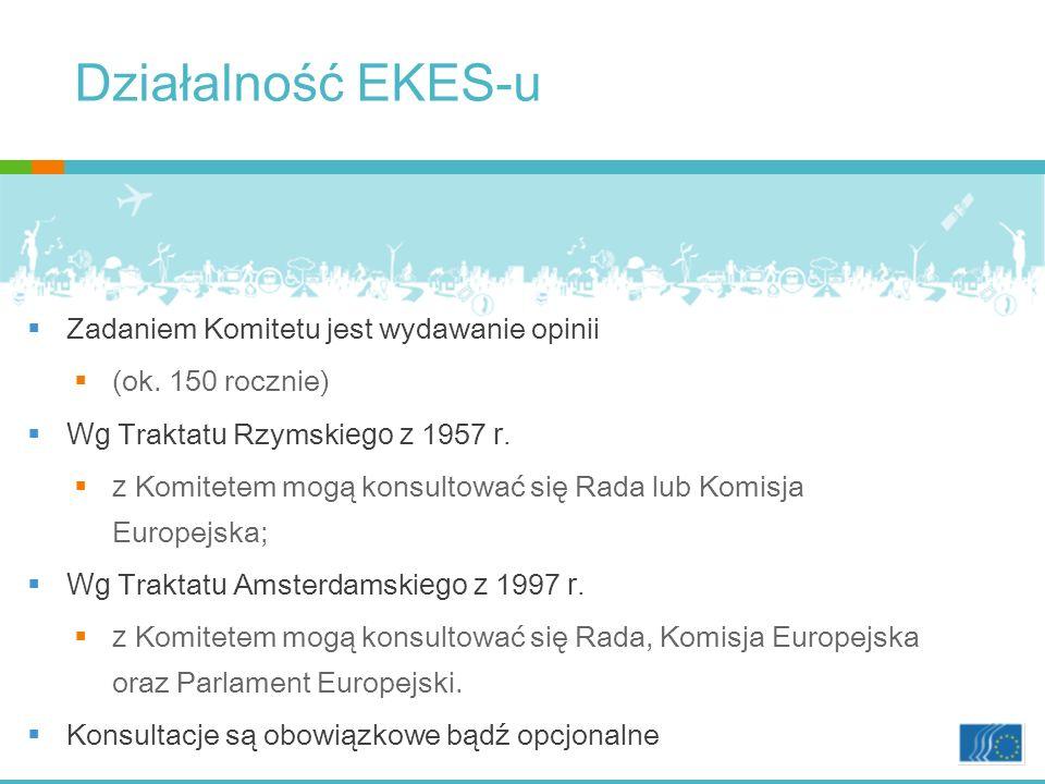 Działalność EKES-u Zadaniem Komitetu jest wydawanie opinii