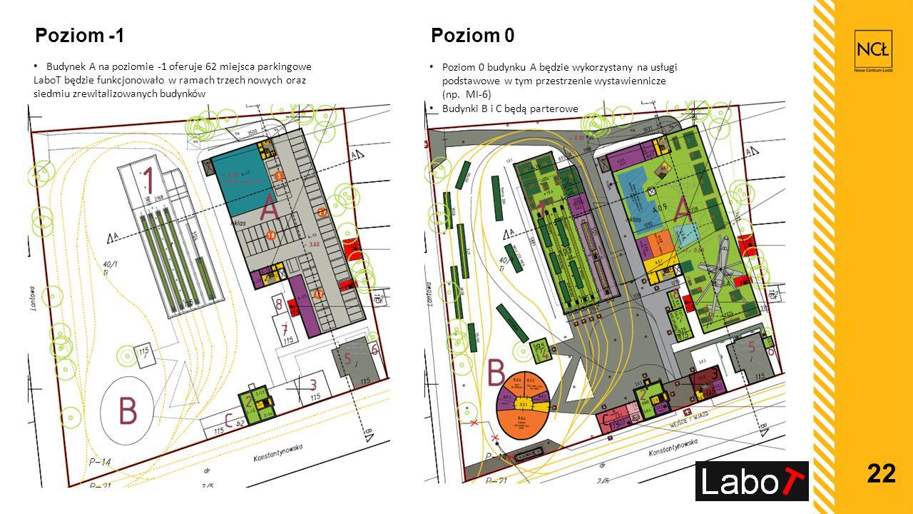 Poziom -1 Poziom 0. Budynek A na poziomie -1 oferuje 62 miejsca parkingowe.