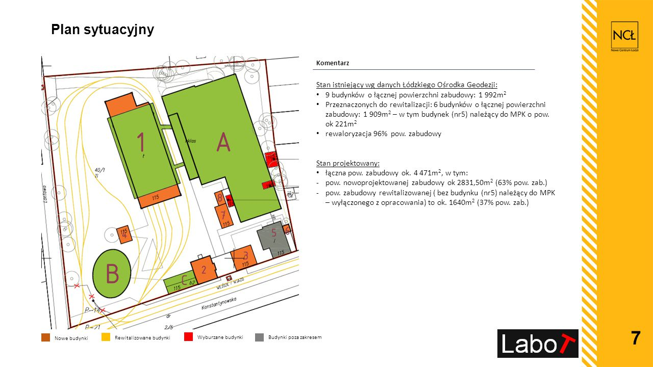 Plan sytuacyjny Stan istniejący wg danych Łódzkiego Ośrodka Geodezji: