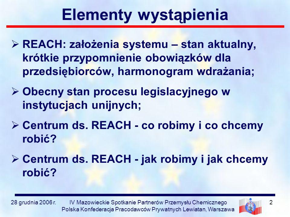 Elementy wystąpienia REACH: założenia systemu – stan aktualny, krótkie przypomnienie obowiązków dla przedsiębiorców, harmonogram wdrażania;