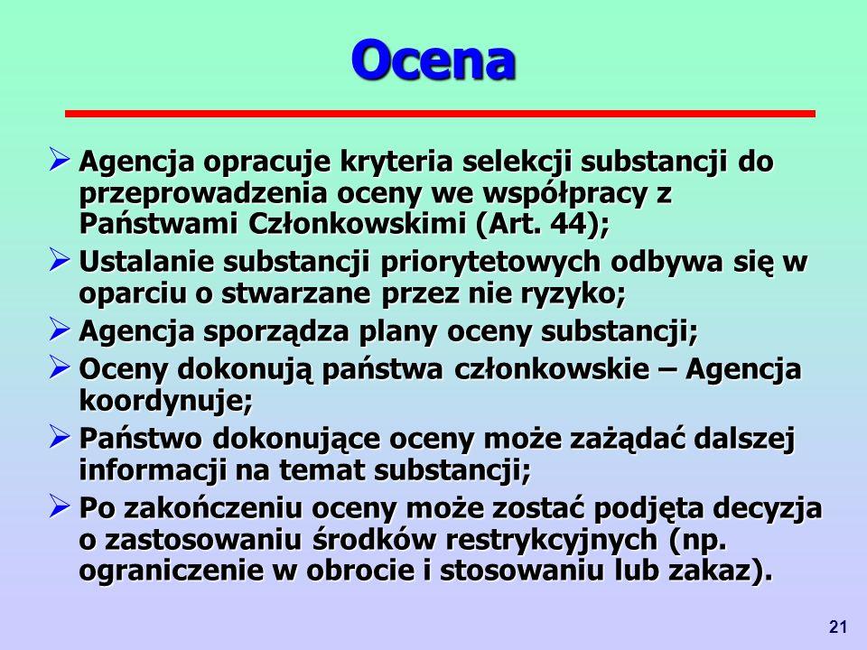 Ocena Agencja opracuje kryteria selekcji substancji do przeprowadzenia oceny we współpracy z Państwami Członkowskimi (Art. 44);