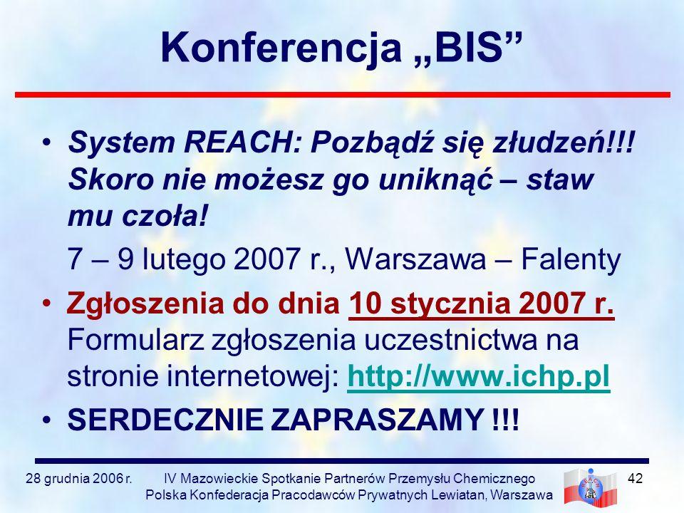 """Konferencja """"BIS System REACH: Pozbądź się złudzeń!!! Skoro nie możesz go uniknąć – staw mu czoła!"""