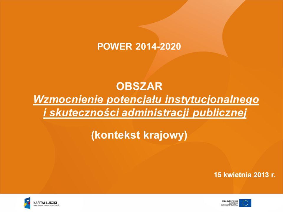 POWER 2014-2020OBSZAR Wzmocnienie potencjału instytucjonalnego i skuteczności administracji publicznej.