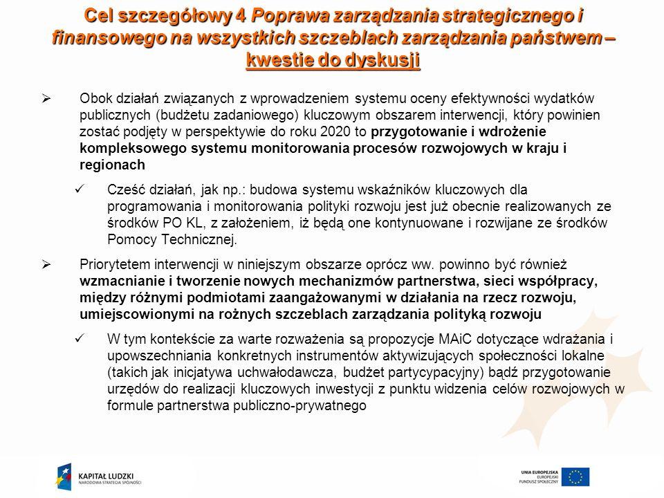 Cel szczegółowy 4 Poprawa zarządzania strategicznego i finansowego na wszystkich szczeblach zarządzania państwem – kwestie do dyskusji