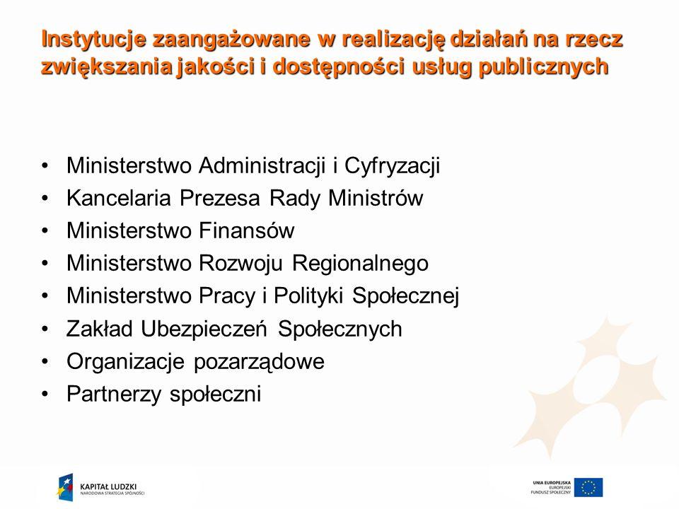 Instytucje zaangażowane w realizację działań na rzecz zwiększania jakości i dostępności usług publicznych