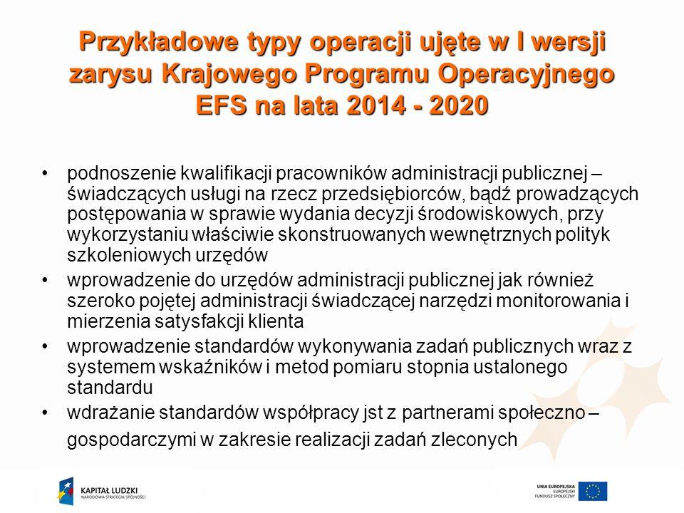 Przykładowe typy operacji ujęte w I wersji zarysu Krajowego Programu Operacyjnego EFS na lata 2014 - 2020