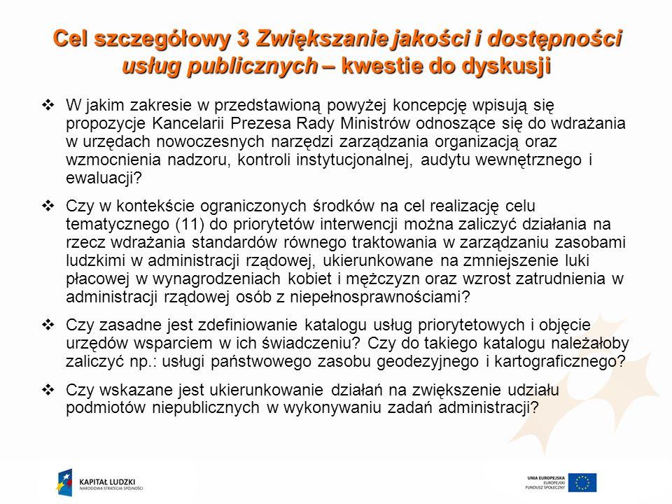 Cel szczegółowy 3 Zwiększanie jakości i dostępności usług publicznych – kwestie do dyskusji