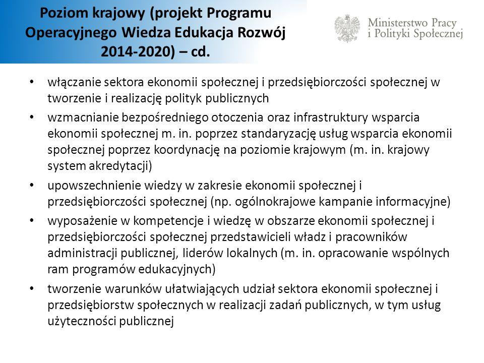 Poziom krajowy (projekt Programu Operacyjnego Wiedza Edukacja Rozwój 2014-2020) – cd.