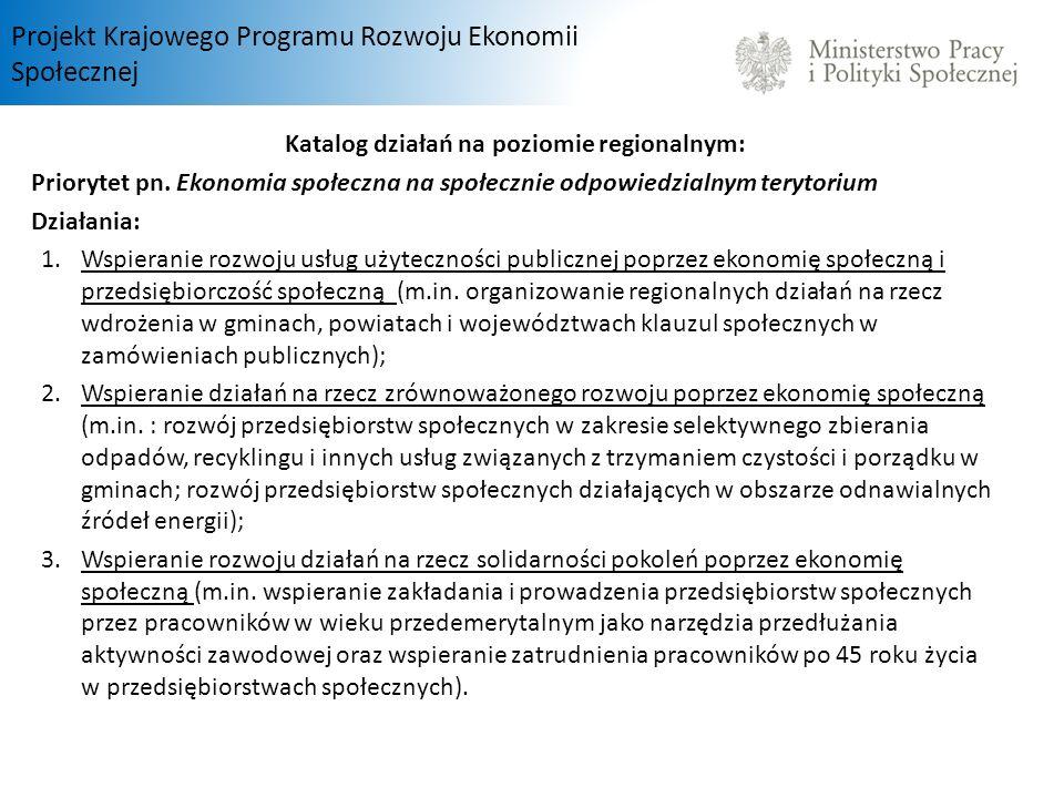 Projekt Krajowego Programu Rozwoju Ekonomii Społecznej