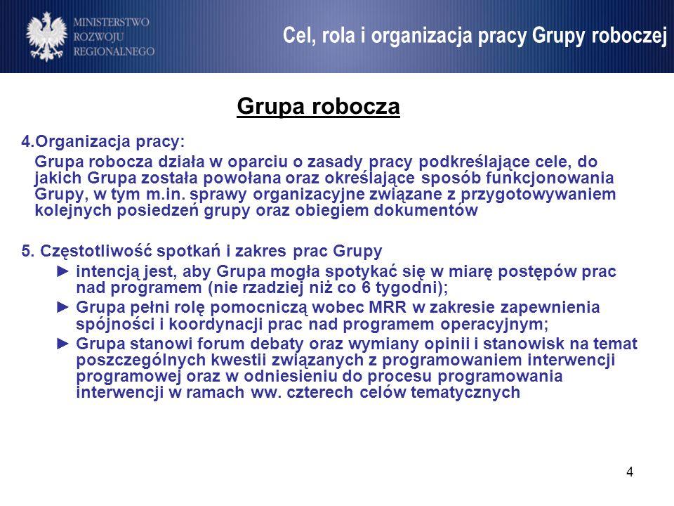 Cel, rola i organizacja pracy Grupy roboczej
