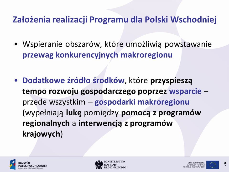 Założenia realizacji Programu dla Polski Wschodniej