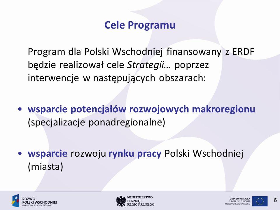Cele Programu Program dla Polski Wschodniej finansowany z ERDF będzie realizował cele Strategii… poprzez interwencje w następujących obszarach: