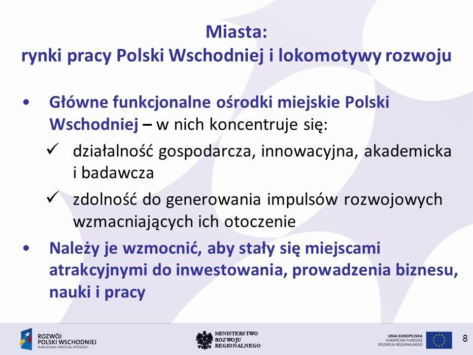Miasta: rynki pracy Polski Wschodniej i lokomotywy rozwoju