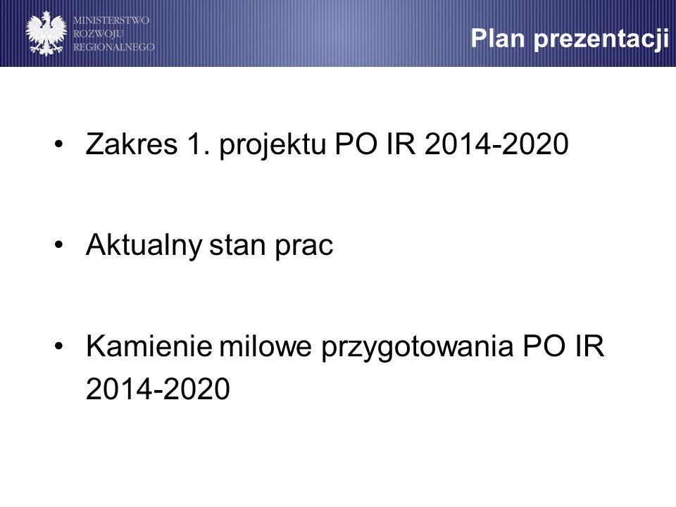 Kamienie milowe przygotowania PO IR 2014-2020