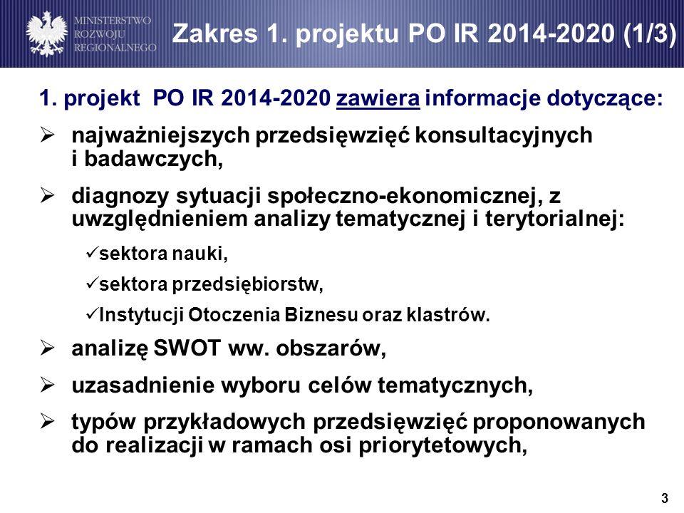 Zakres 1. projektu PO IR 2014-2020 (1/3)