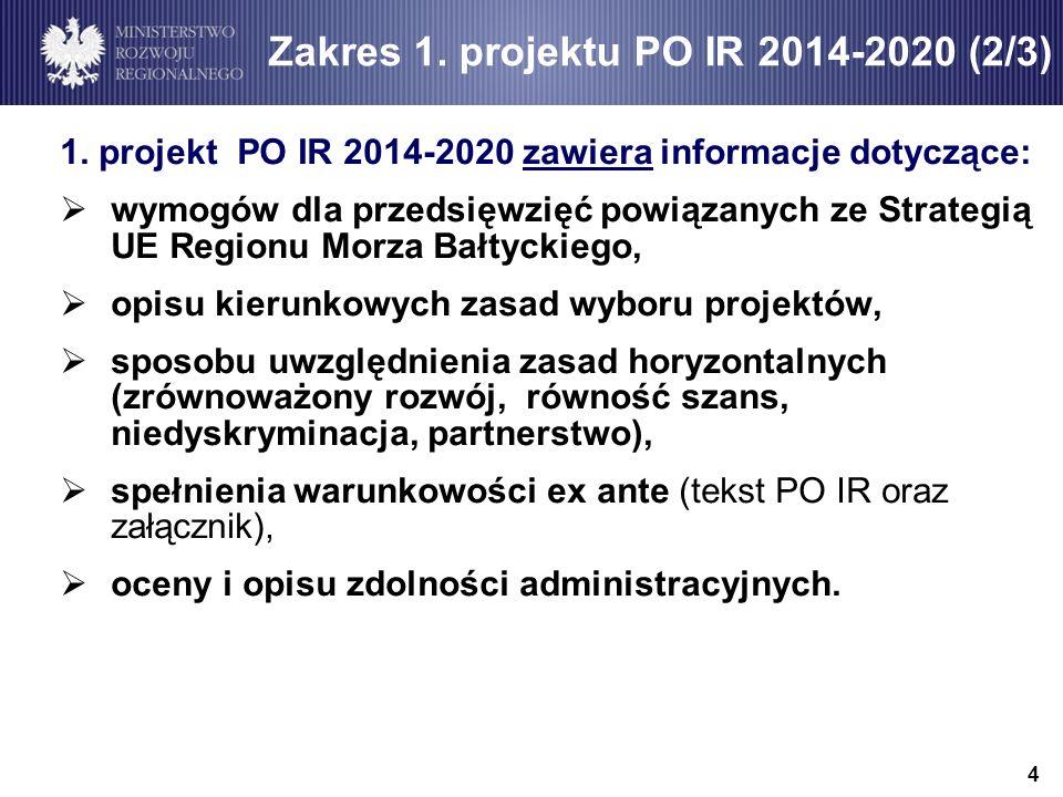 Zakres 1. projektu PO IR 2014-2020 (2/3)