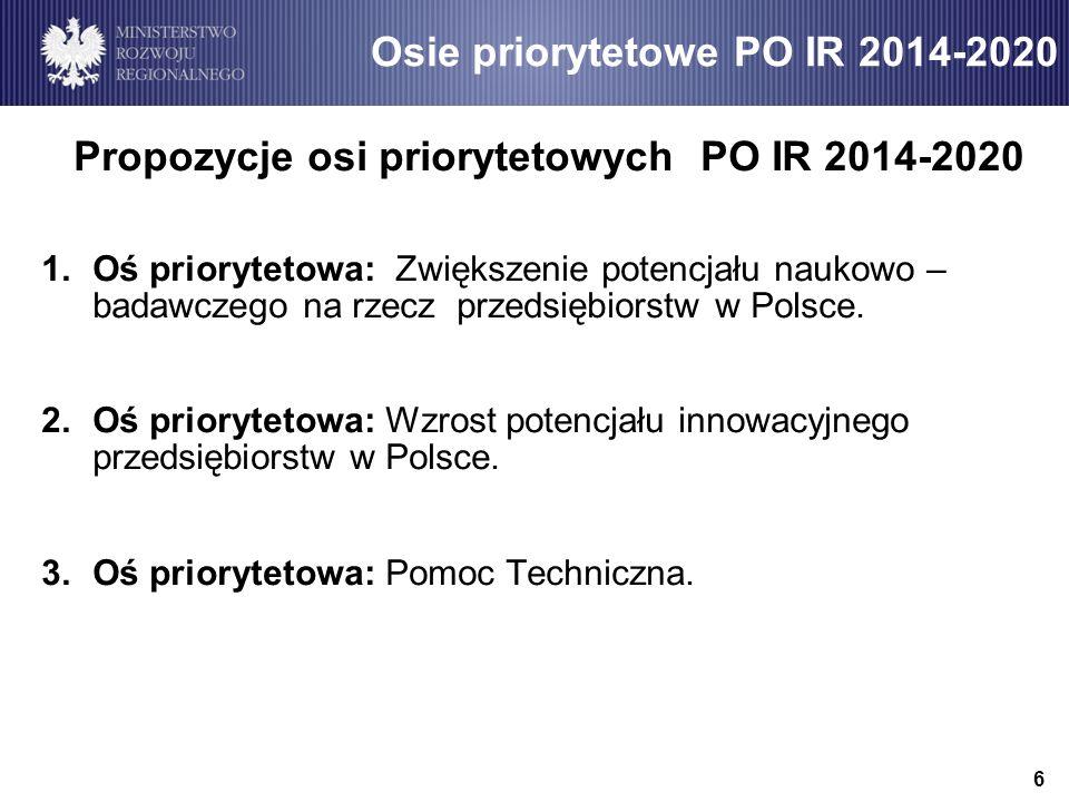 Propozycje osi priorytetowych PO IR 2014-2020