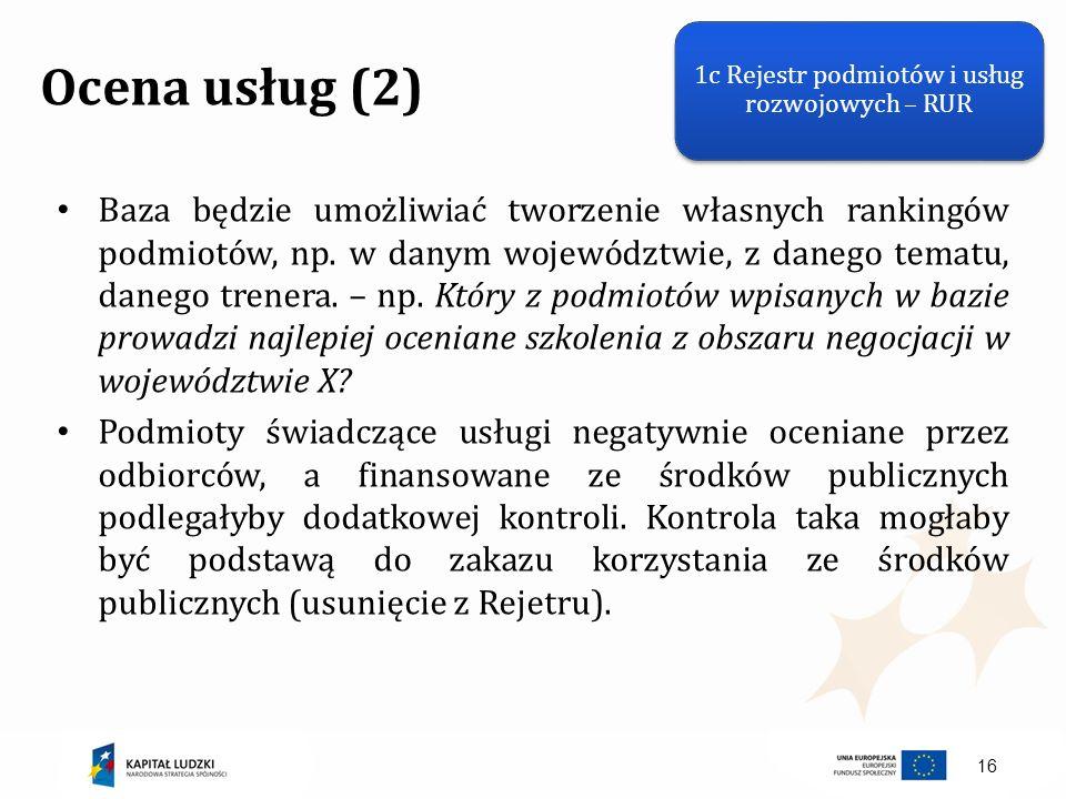 1c Rejestr podmiotów i usług rozwojowych – RUR