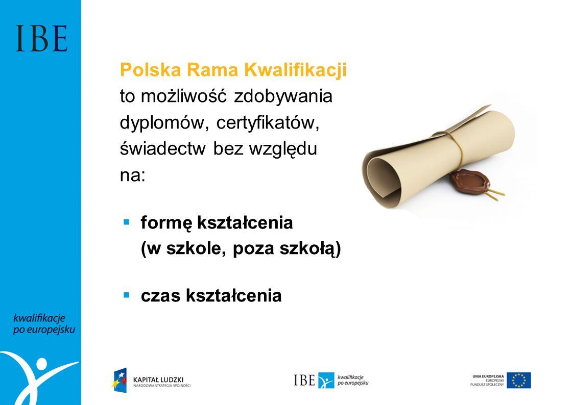 Polska Rama Kwalifikacji to możliwość zdobywania dyplomów, certyfikatów, świadectw bez względu na: