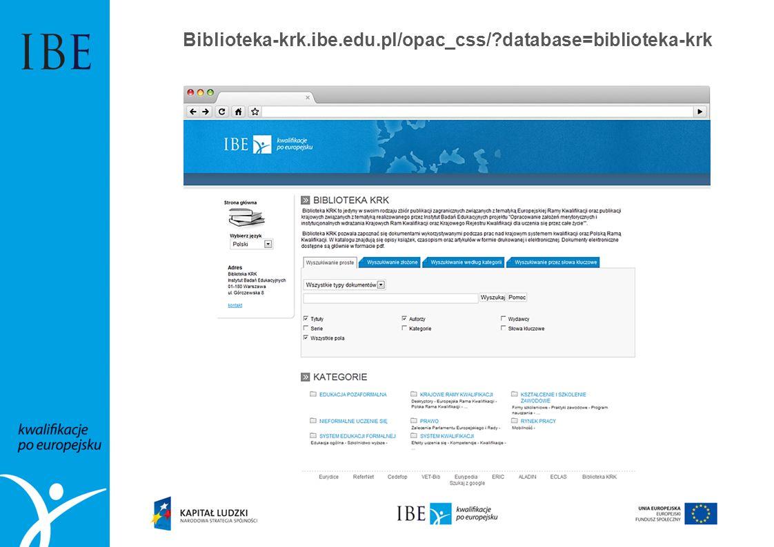 Biblioteka-krk.ibe.edu.pl/opac_css/ database=biblioteka-krk
