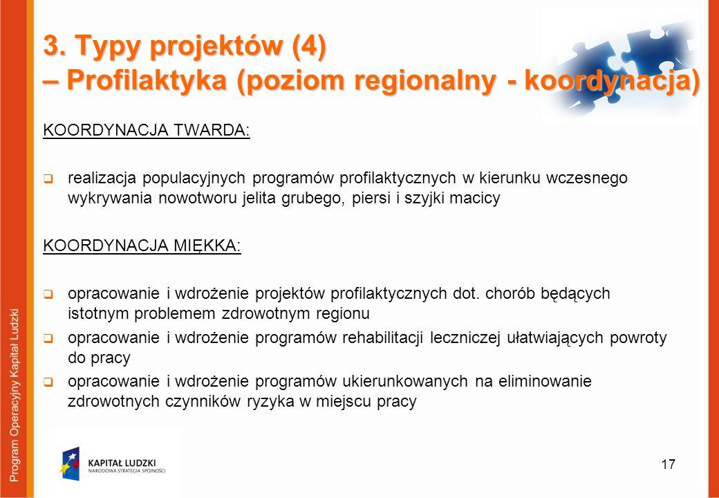 3. Typy projektów (4) – Profilaktyka (poziom regionalny - koordynacja)
