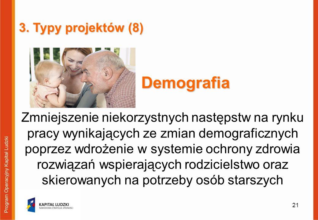 3. Typy projektów (8) Demografia.