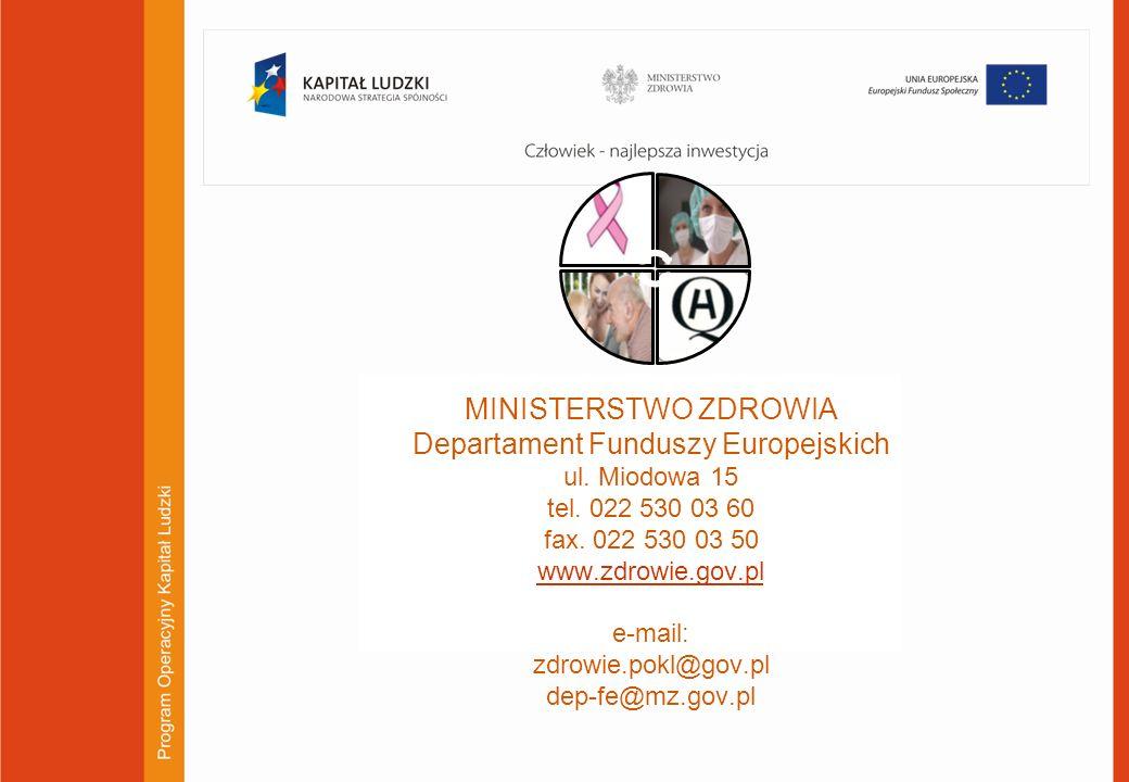 MINISTERSTWO ZDROWIA Departament Funduszy Europejskich ul